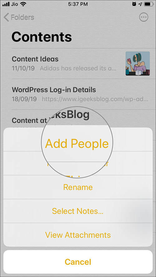 Tap on Add People from select option in Notes App on iOS 13