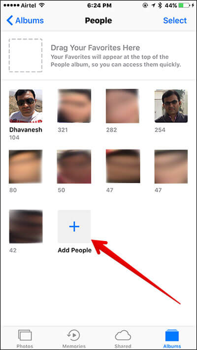 Tap on Add People in Album in iOS 10