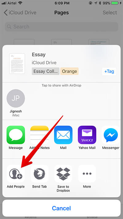 Tap on Add People in iOS 11 Files App Sharing Options