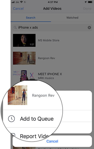 Tap on Add to Queue to add video to watch party in Facebook Group