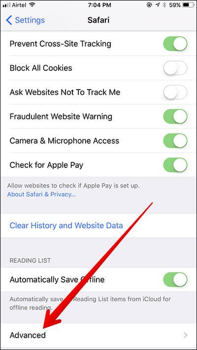 Tap on Advanced in Safari Settings in iOS 11