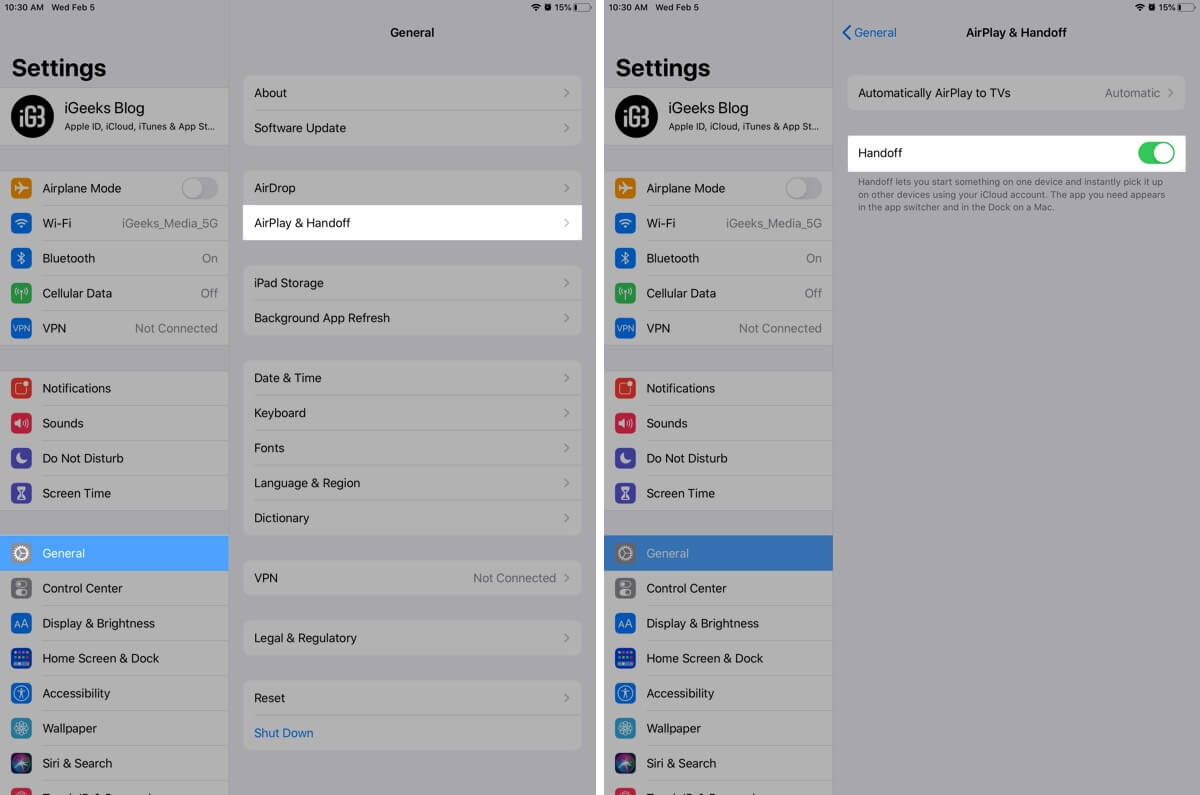 Tap on AirPlay and Handoff to Enable Handoff on iPad