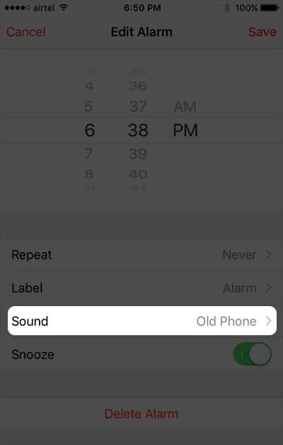 Tap on Alarm Sound on iPhone