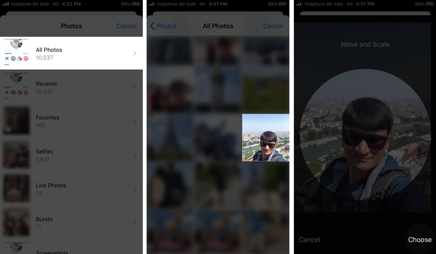Tap on Album Select Photo and Then Tap on Choose