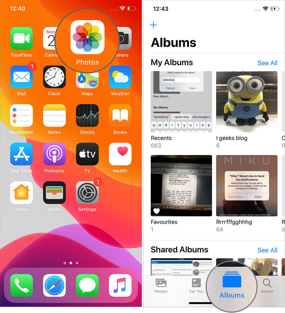 Tap on Albums in iOS 13 Photos App on iPhone