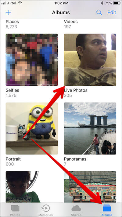 Tap on Albums then Live Photos on iPhone in iOS 11