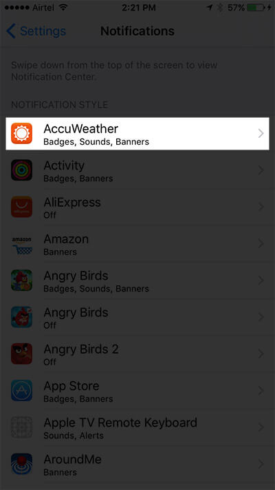 Tap on App You Want to Change Notification Style
