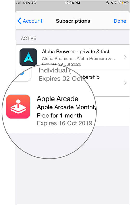 Tap on Apple Arcade in iOS App Store Subscription Settings