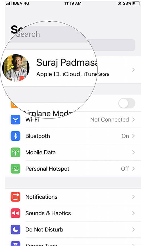Tap on Apple ID Profile in iOS 13 Settings
