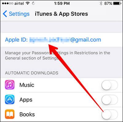 Tap on Apple ID on iPhone
