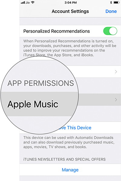 Tap on Apple Music Under App Permissions