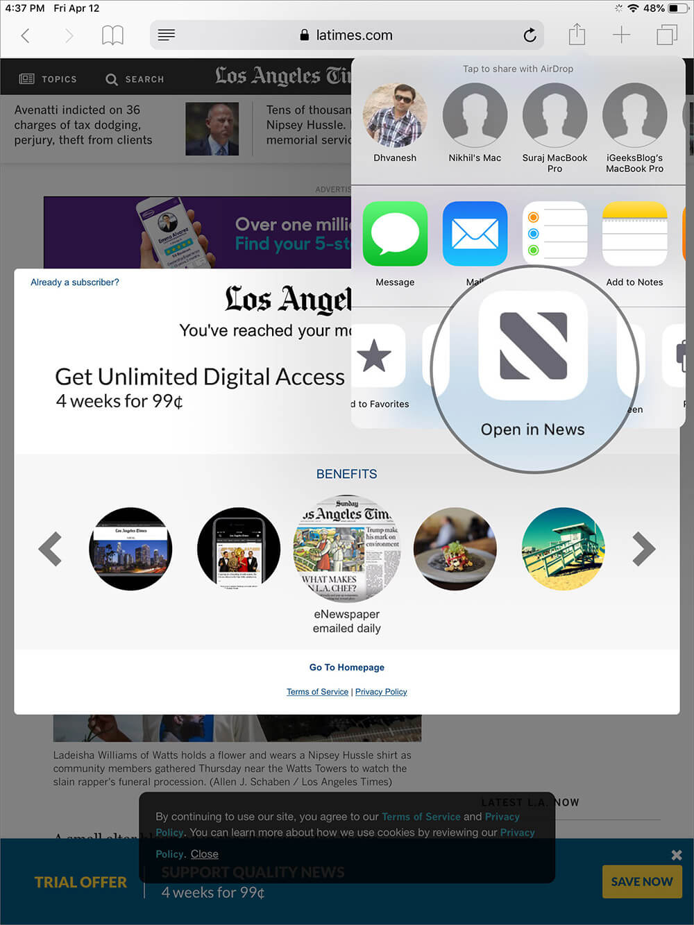 Tap on Apple News Plus in iOS Share Sheet to Read Paywalled Article