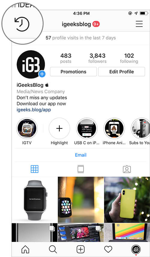 Tap on Archive button in Instagram app