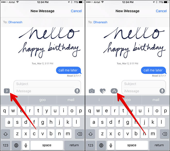 Tap on Arrow Icon then App Store Button in Messages App on iPhone