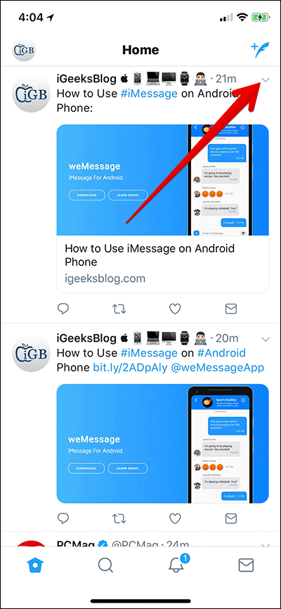 Tap on Arrow in Twitter on iPhone or iPad