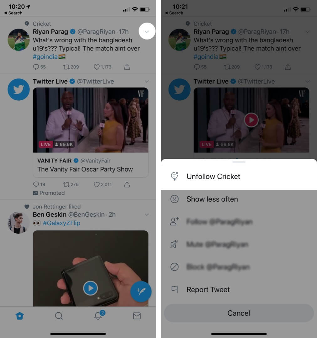Tap on Arrow to Unfollow Topics from Twitter on iPhone