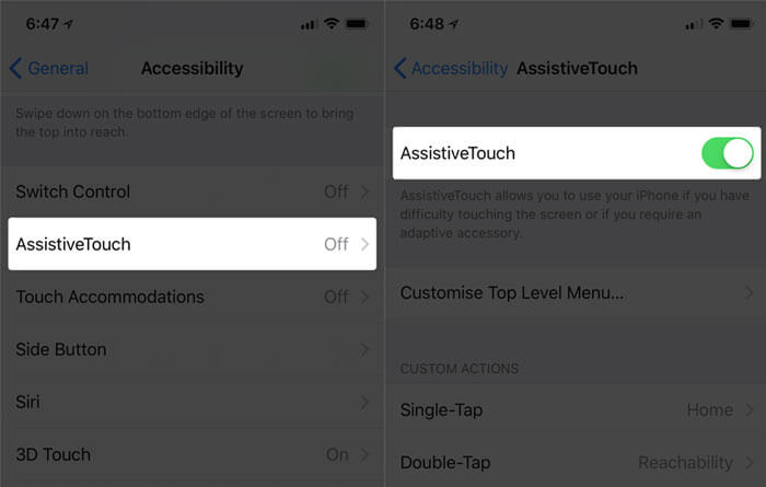 Tap on AssistiveTouch and Turn ON the Switch in iOS 11