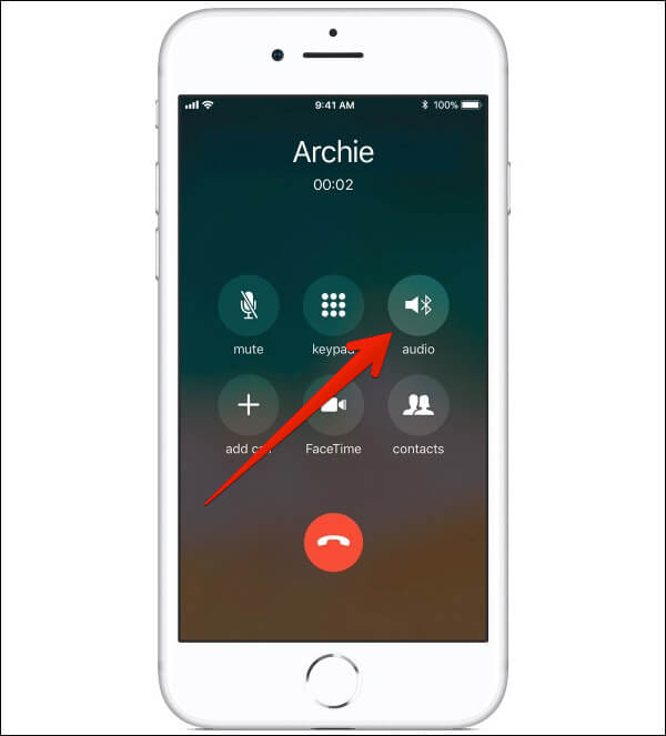 Tap on Audio During Phone Call on iPhone