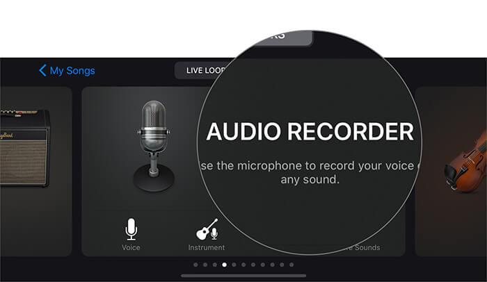 Tippen Sie auf Audio Recorder, um Sprache in der GarageBand-App auf dem iPhone aufzunehmen