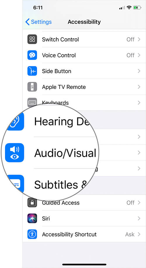 Tap on Audio-Visual in iPhone or iPad Accessibility Settings