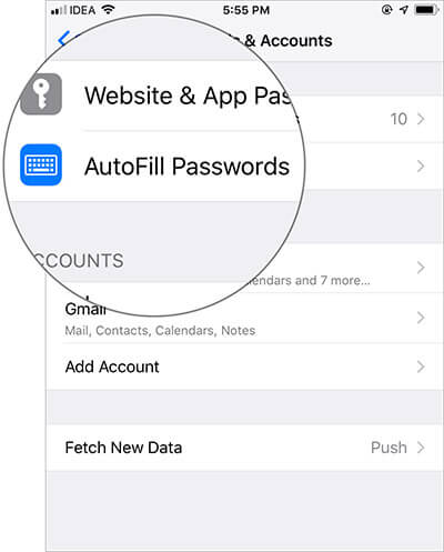 Tap on AutoFill Passwords in iOS 12 Settings