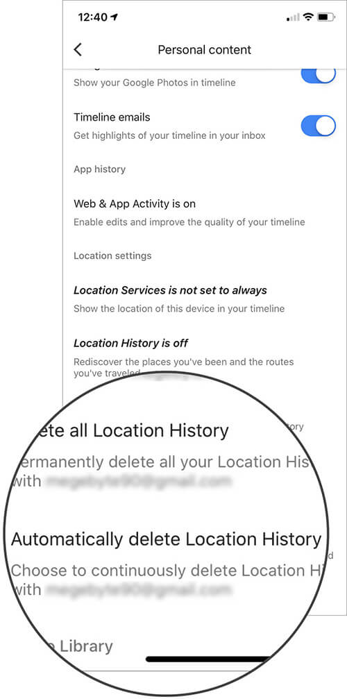Tap on Automatically delete Location History in Google Maps on iPhone