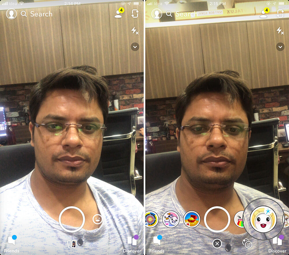 Tap on Baby Filter icon in Snapchat App