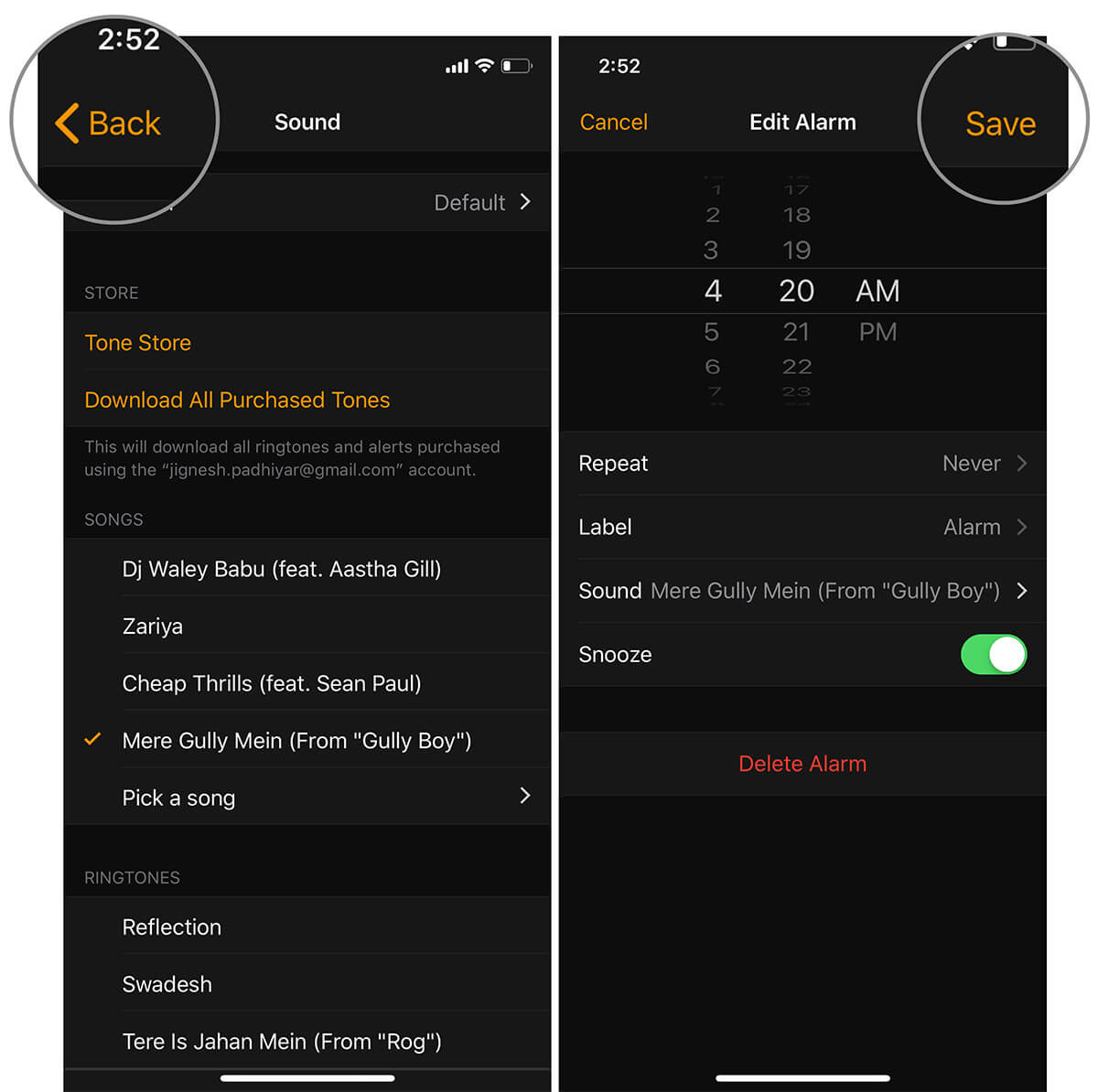 Tap on Back and then Save in iOS Clock app