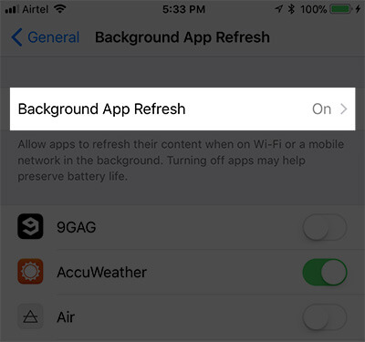 Tap on Background App Refresh Again in iPhone Settings