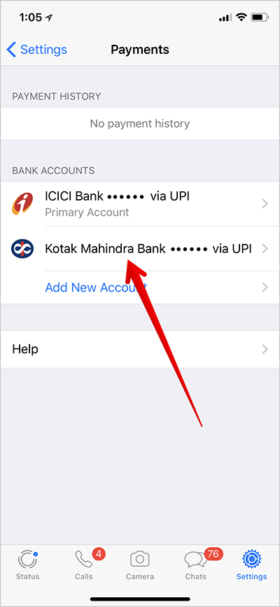 Tap on Bank Account You want To Make Primary in WhatsApp