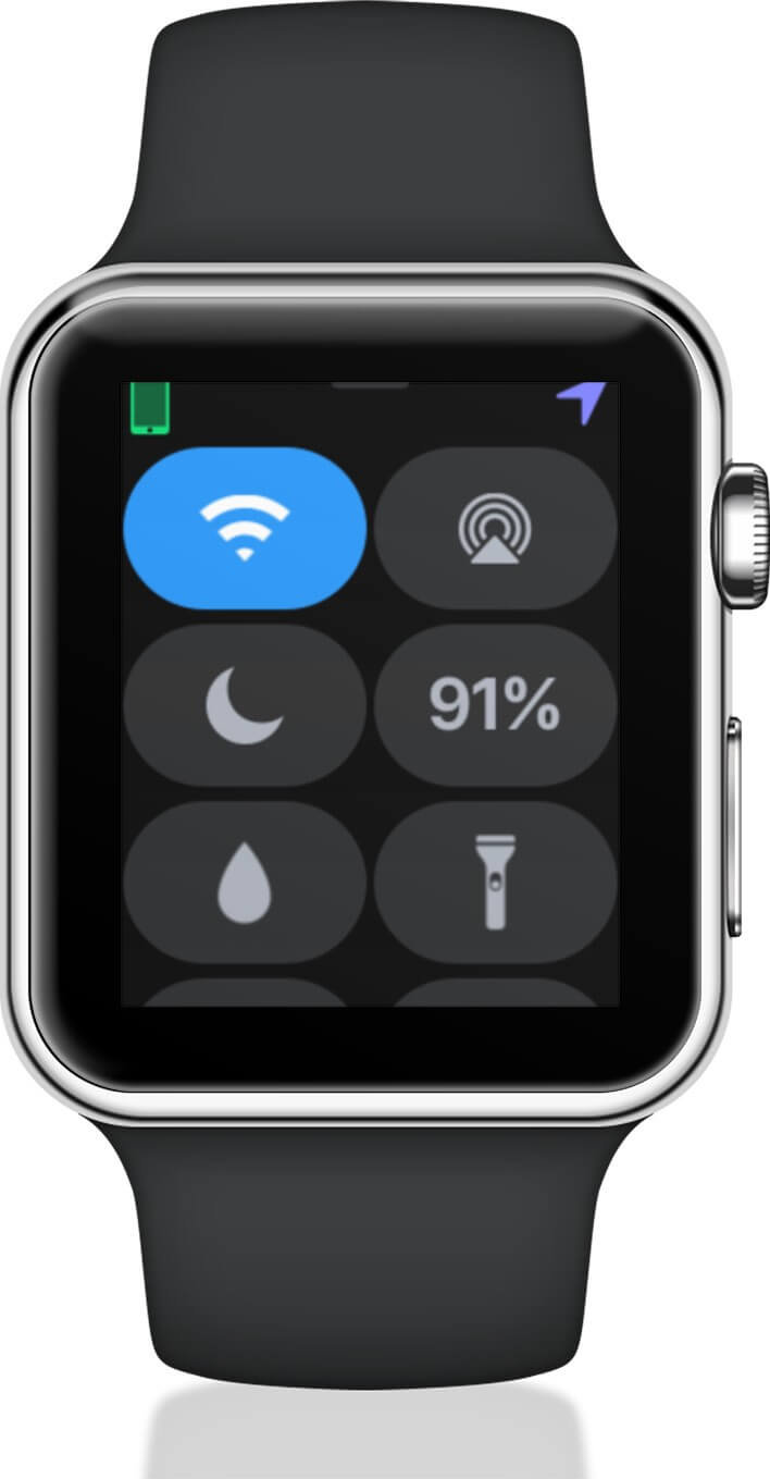Tap on Battery icon on Apple Watch