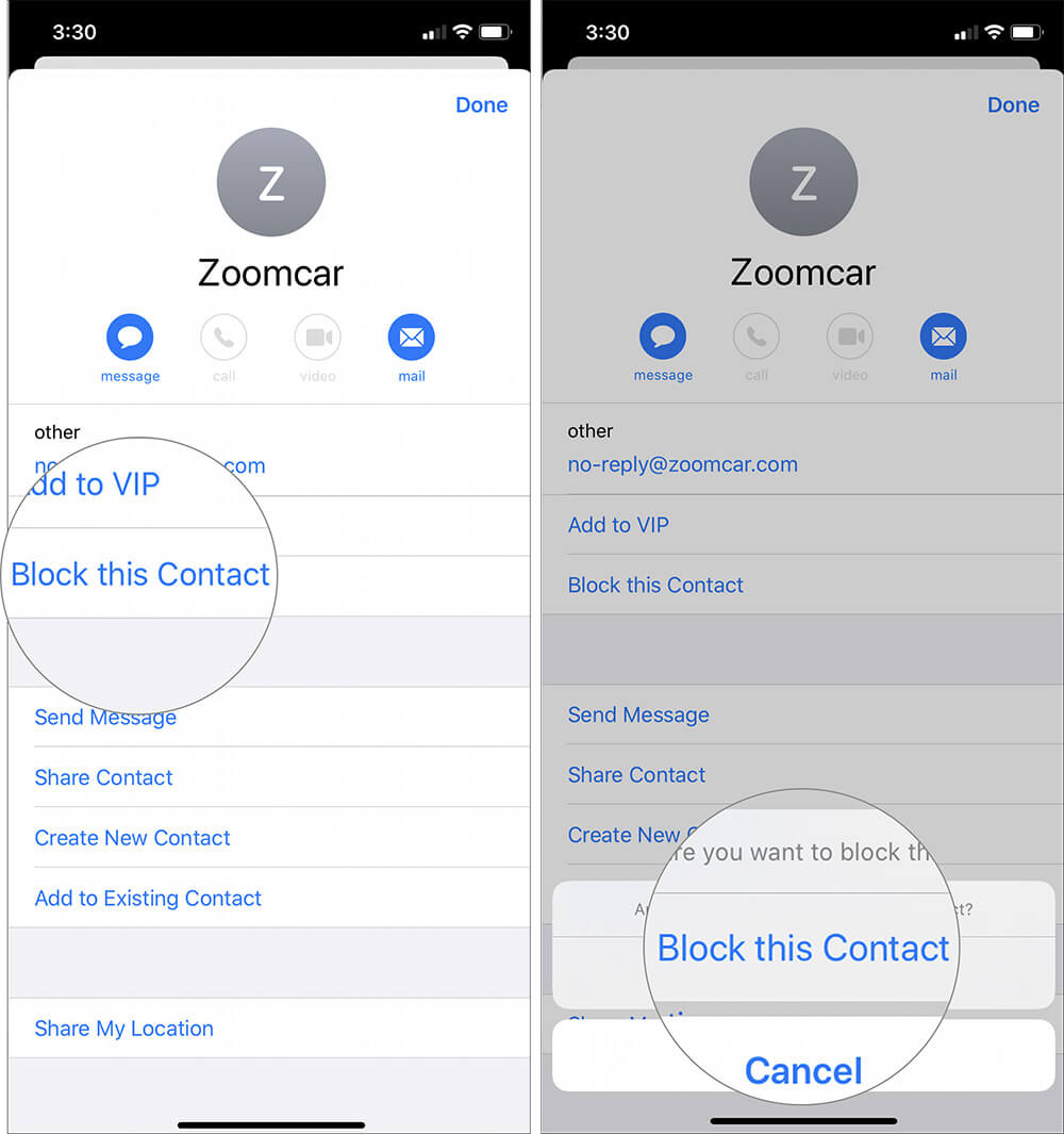 Tap on Block Content and Confirm Block Option in Pop-Up Dialogue iOS 13 Mail App