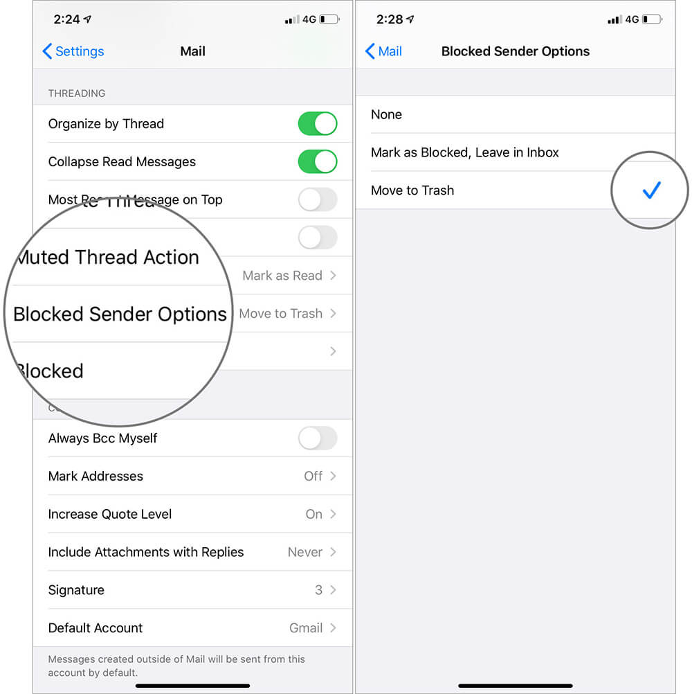 Tap on Blocked Sender Options and Choose Preferred Option to Stop Emails in iOS 13 Mail App on iPhone