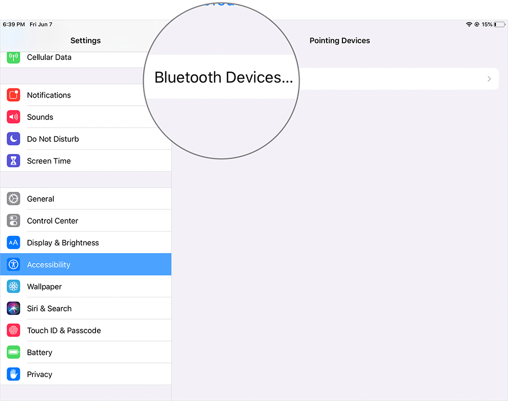 Tap on Bluetooth Devices in iPad Settings