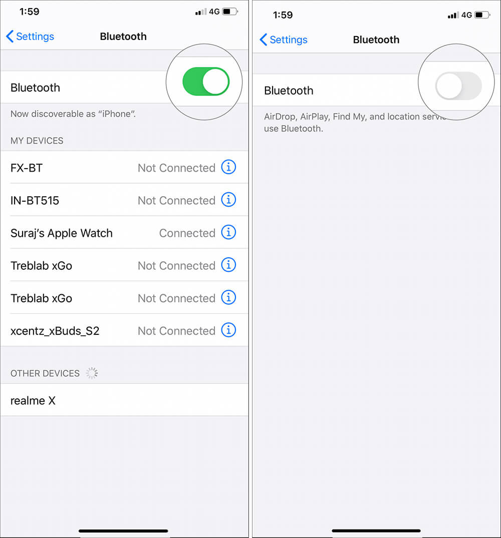 Tap on Bluetooth Toggle to turn off in Settings on iPhone
