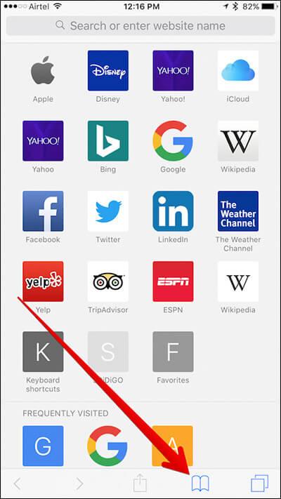 Tap on Bookmark Icon in Safari on iPhone