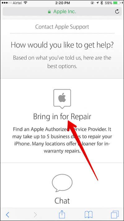 Tippen Sie auf der Apple Support-Seite auf dem iPhone auf Zur Reparatur bringen