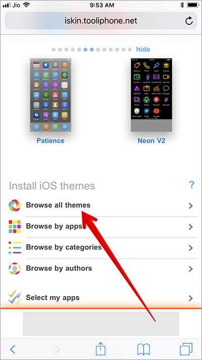 Tap on Browse All Themes in iSkin Website in Safari on iPhone