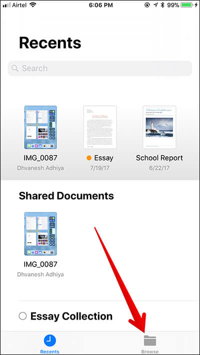 Tap on Browse Button in Files App on iPhone