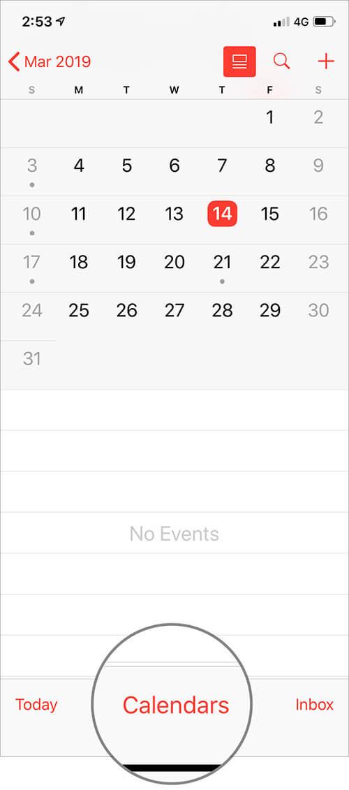 Tap on Calendars at the bottom in iOS Calendar App