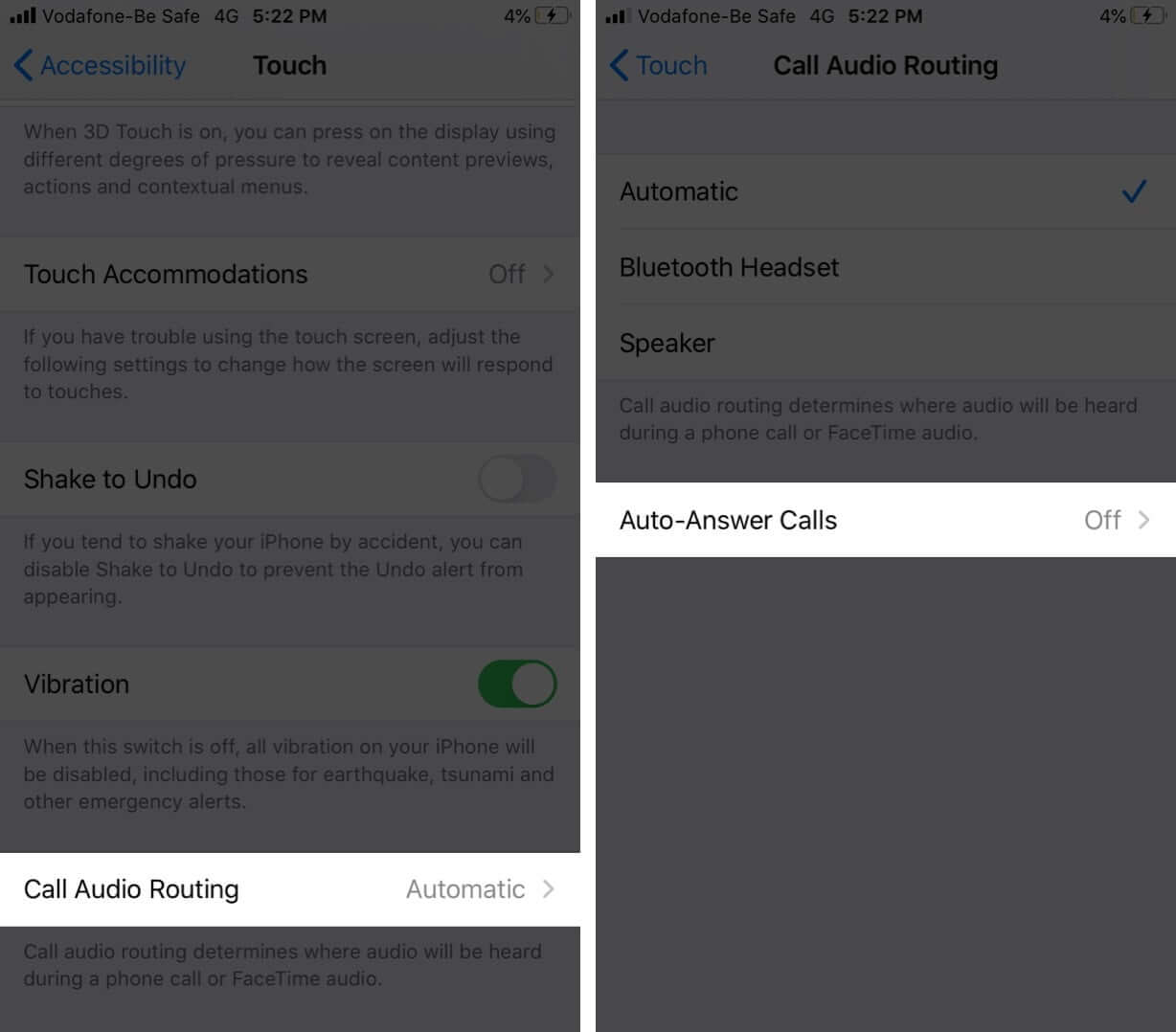 Tap on Call Audio Routing and Then Tap Auto-Answer Calls