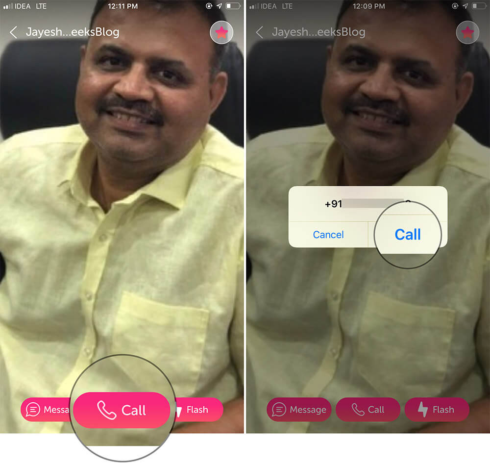 Tap on Call to Send Your Photo As Caller ID Using Flash iPhone App