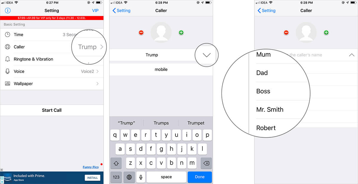 Tap on Caller and Select the Fake Caller Name in iPhone Fake Call Plus App