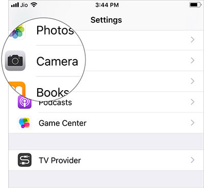 Tap on Camera in iOS 12 Settings