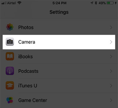 Tap on Camera in iPhone Settings