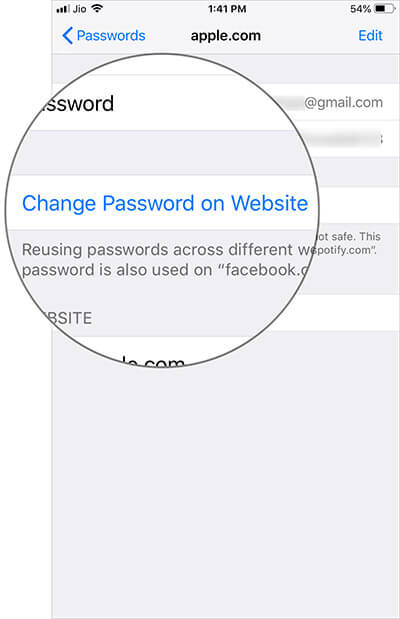 Tap on Change Password on Website in iOS 12 on iPhone