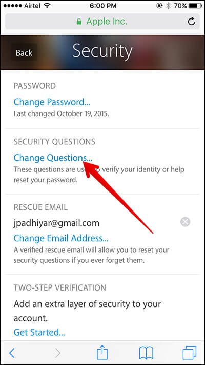 Tap on Change Questions in Apple ID on iPhone