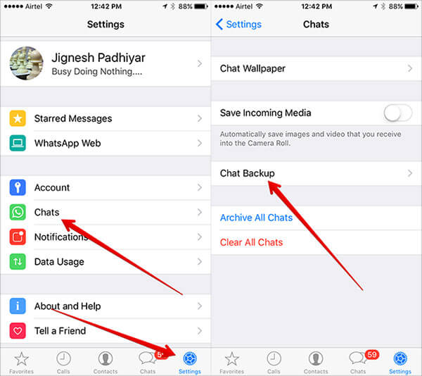 Tap on Chat Backup in WhatsApp Settings