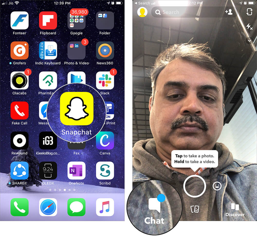 Tap on Chat in Snapchat on iPhone