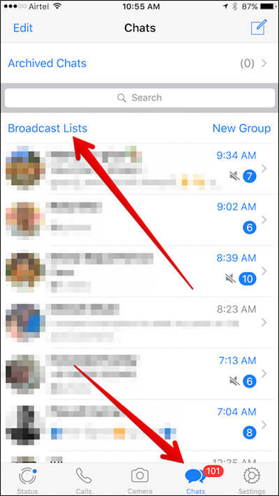 Tap on Chats Then Broadcast Lists in WhatsApp on iPhone